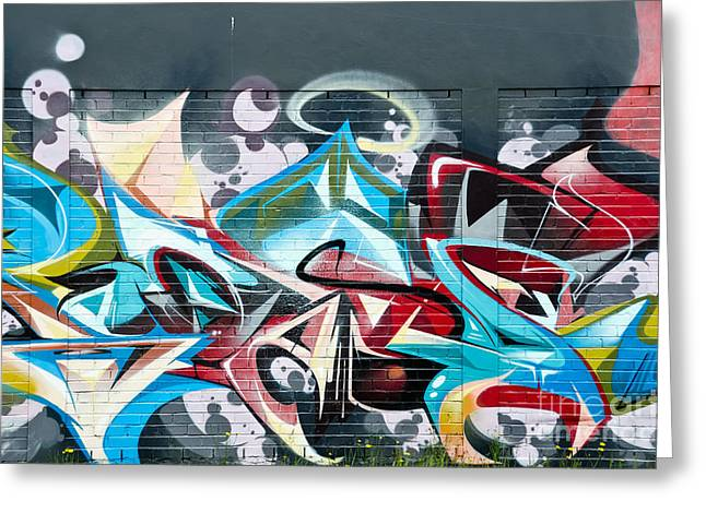 Colorful Abstract Graffiti Art On The Brick Wall Greeting Card
