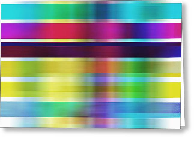 Colorful Abstract Stripes On Square By Ann Powell Greeting Card by Ann Powell