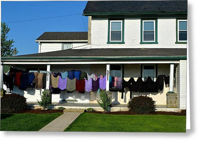 Colorful Amish Laundry On Porch Greeting Card
