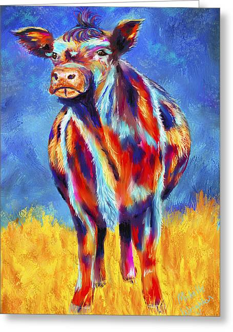 Colorful Angus Cow Greeting Card by Michelle Wrighton