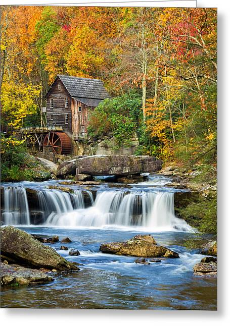Colorful Autumn Grist Mill Greeting Card
