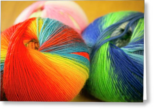 Colorful Balls Of Yarn, Taos, New Greeting Card by Julien Mcroberts