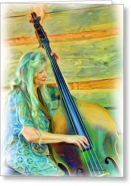 Colorful Bass Fiddle Greeting Card by Kenny Francis