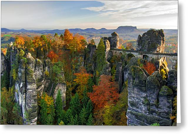 Colorful Bastei Bridge In The Saxon Switzerland Greeting Card