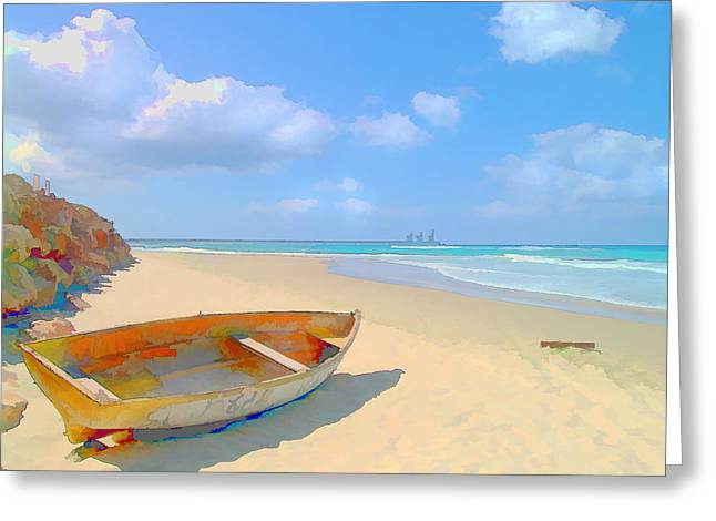 Colorful Beached Caribbean Boat Greeting Card by Elaine Plesser