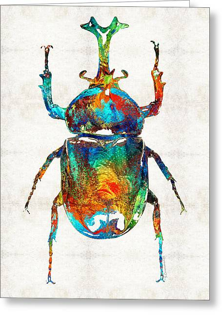 Colorful Beetle Art - Scarab Beauty - By Sharon Cummings Greeting Card