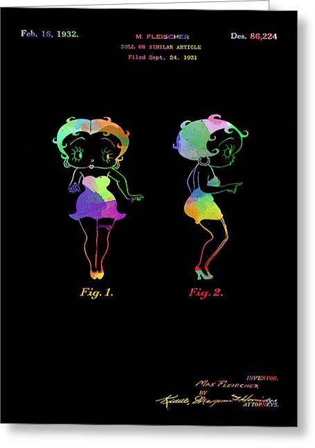 Colorful Betty Boop Patent On Black Greeting Card