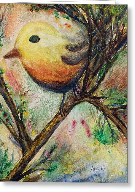 Colorful Bird Greeting Card by Anais DelaVega