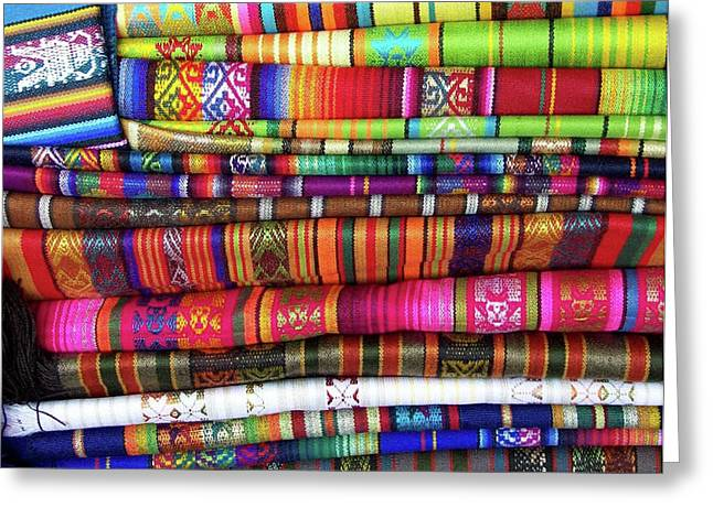 Colorful Blankets At Indigenous Market Greeting Card by Miva Stock