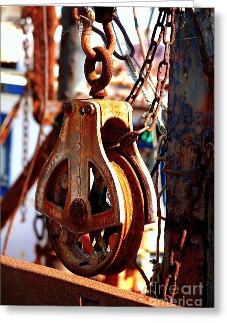 Colorful Boat Pully Greeting Card by Carol Groenen