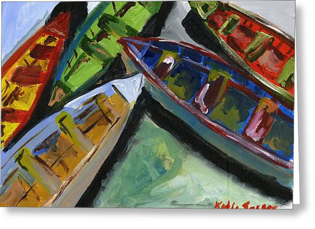 Colorful Boats Greeting Card