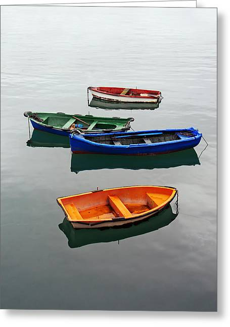 colorful boats on Santurtzi Greeting Card by Mikel Martinez de Osaba