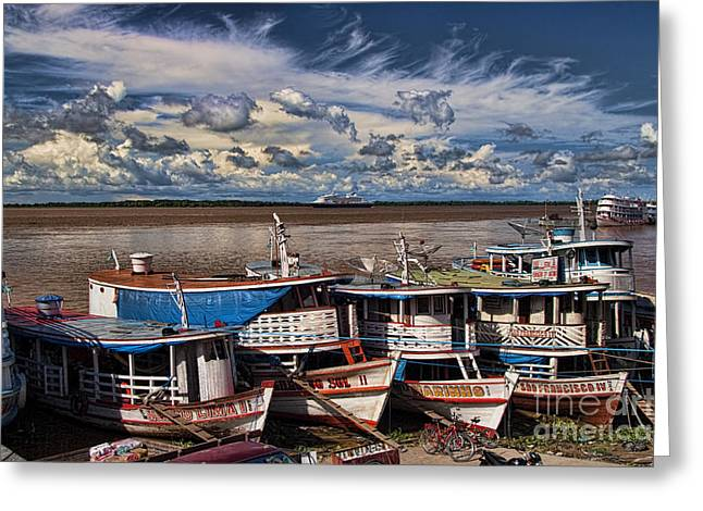 Colorful Boats On The Amazon River Greeting Card