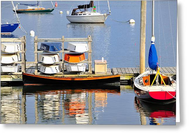 Colorful Boats Rockland Maine Greeting Card