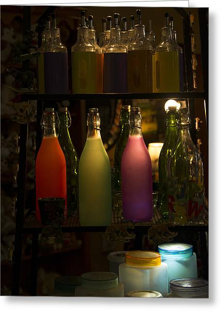 Colorful Bottle Display Greeting Card