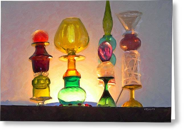 Colorful Bottles - An Artist Eye Greeting Card by Rebecca Korpita