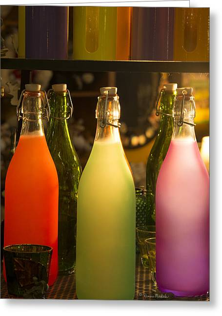 Colorful Bottles Closeup Greeting Card