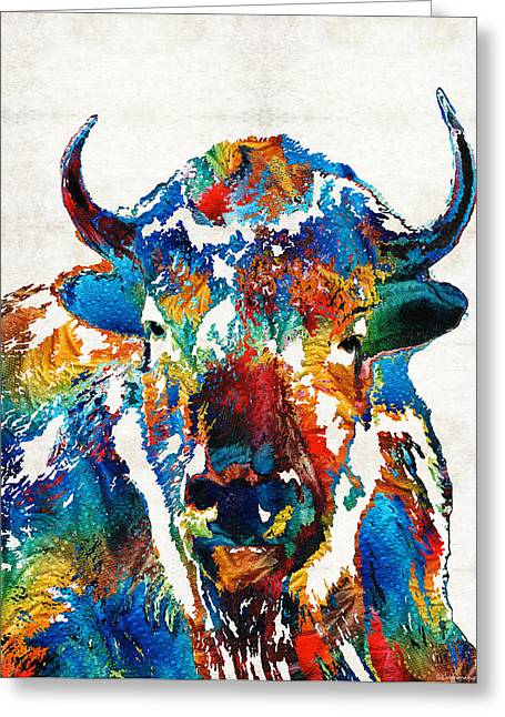 Colorful Buffalo Art - Sacred - By Sharon Cummings Greeting Card