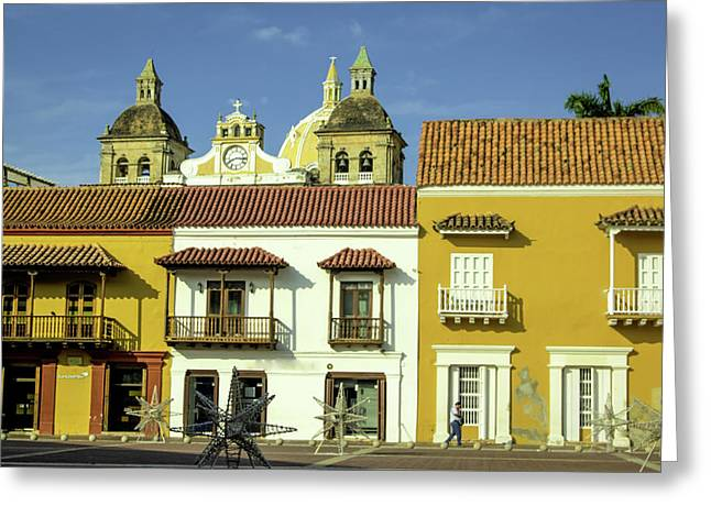 Colorful Buildings And Church Domes Greeting Card