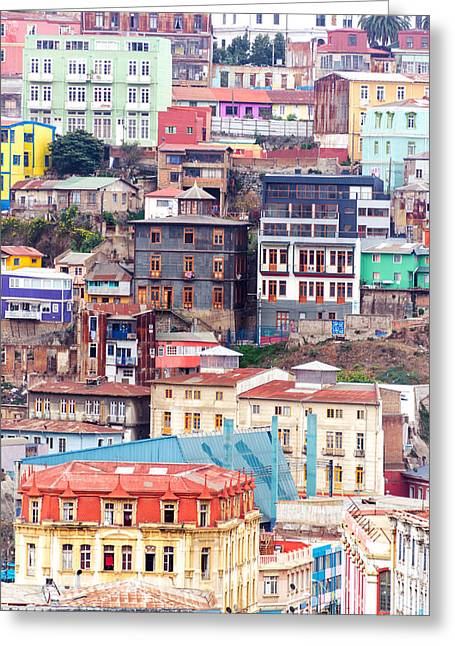 Colorful Buildings On A Hill Greeting Card