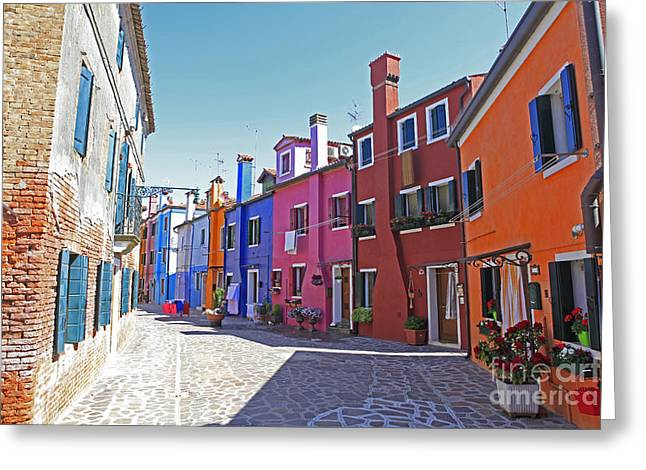 Colorful Burano Greeting Card by Ernst Cerjak