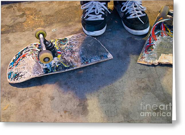 Colorful Busted Skateboard With Shoes  Greeting Card