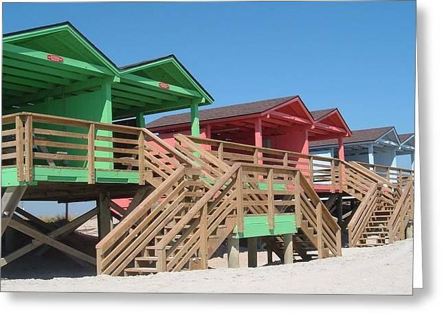 Colorful Cabanas Greeting Card by Caryl J Bohn
