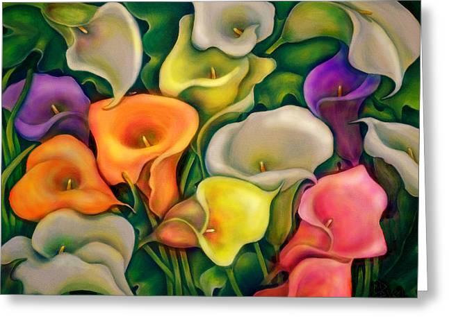 Colorful Calla Lilies Greeting Card by Debra Bucci