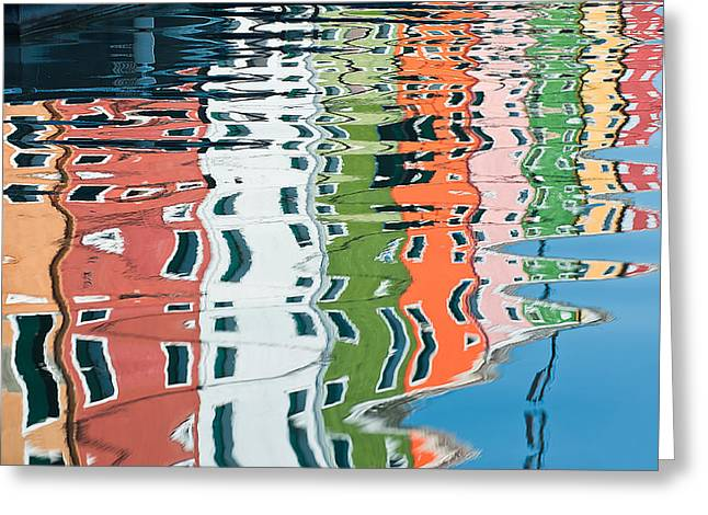 Colorful Canal Greeting Card by Joan Herwig