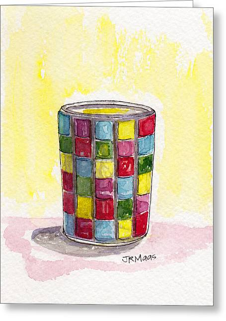 Greeting Card featuring the pastel Colorful Candleholder by Julie Maas