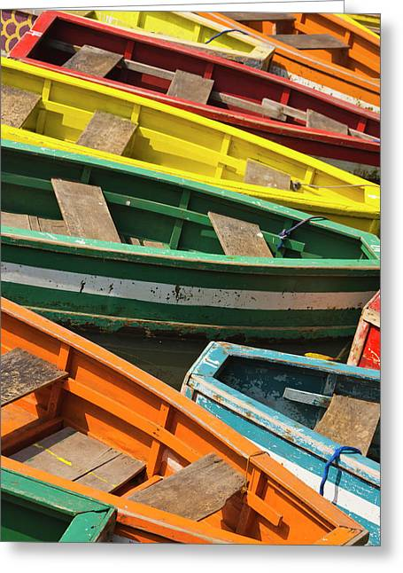 Colorful Canoes, Manila, Philippines Greeting Card