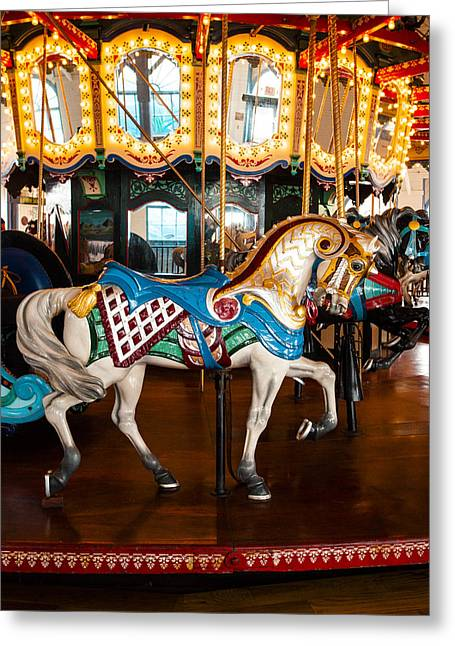 Greeting Card featuring the photograph Colorful Carousel Horse by Jerry Cowart