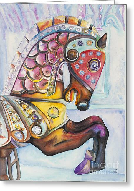Colorful Carousel Horse  Greeting Card by Patty Vicknair