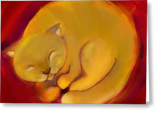 Colorful Cat 1 Greeting Card by Anna Gora