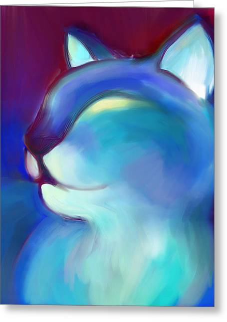 Colorful Cat 3 Greeting Card by Anna Gora
