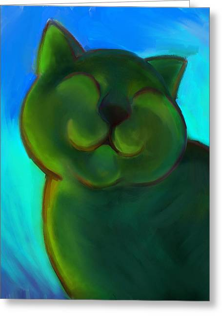 Colorful Cat 4 Greeting Card by Anna Gora