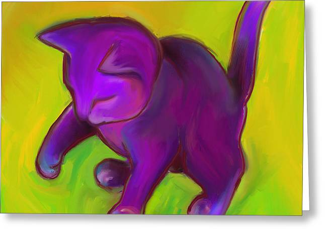 Colorful Cat 7 Greeting Card by Anna Gora