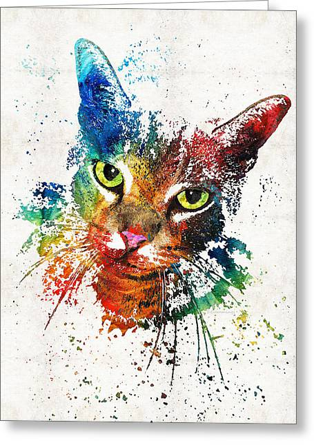 Colorful Cat Art By Sharon Cummings Greeting Card