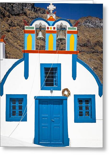 Colorful Chapel In Thirasia Greeting Card
