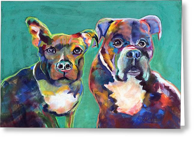 Colorful Characters Greeting Card by Julie Maas