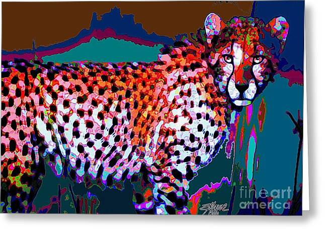 Greeting Card featuring the painting Colorful Cheetah by Elinor Mavor