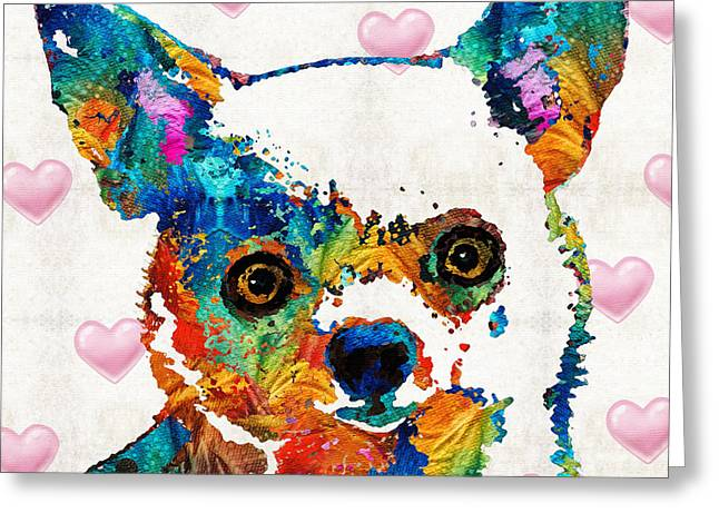 Colorful Chihuahua Art By Sharon Cummings Greeting Card by Sharon Cummings