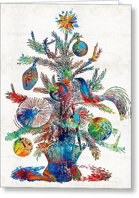 Colorful Christmas Tree Art By Sharon Cummings Greeting Card by Sharon Cummings