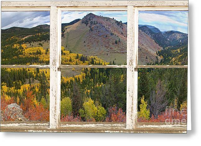 Colorful Colorado Rustic Window View Greeting Card