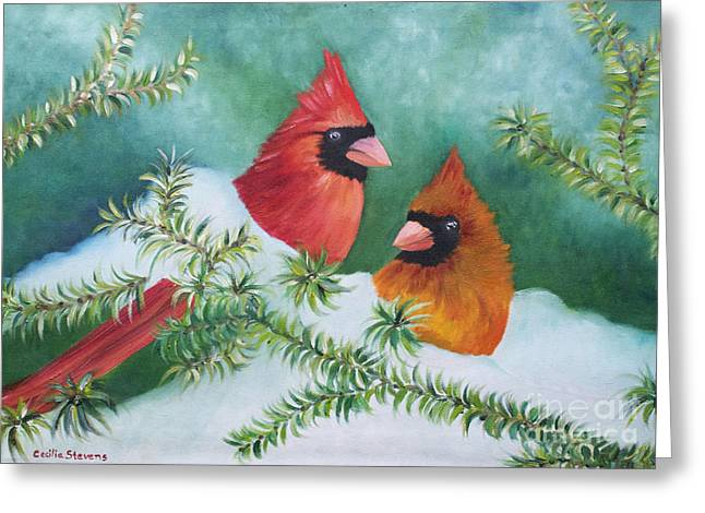 Colorful Companions Greeting Card by Cecilia Stevens