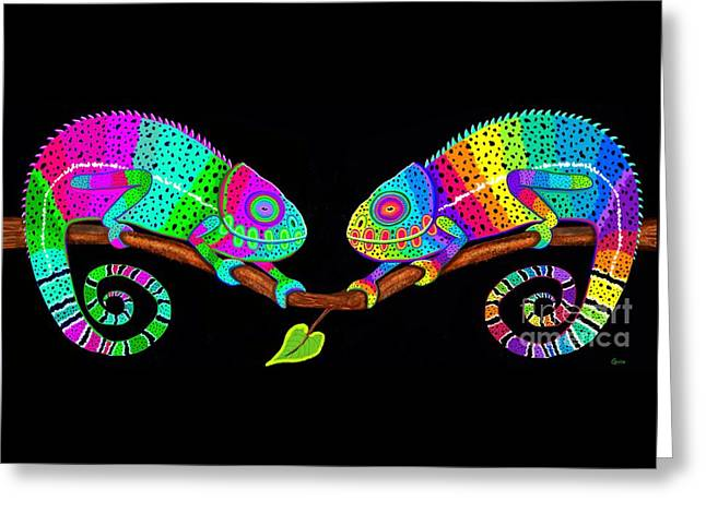 Colorful Companions Greeting Card by Nick Gustafson