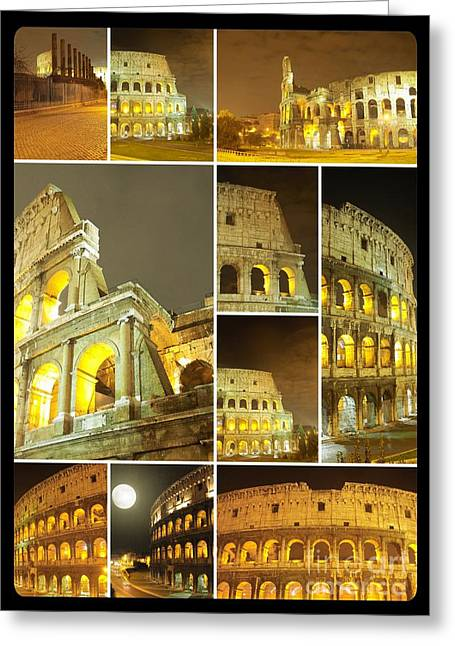 Colorful Composition Made Of Colosseo Greeting Card
