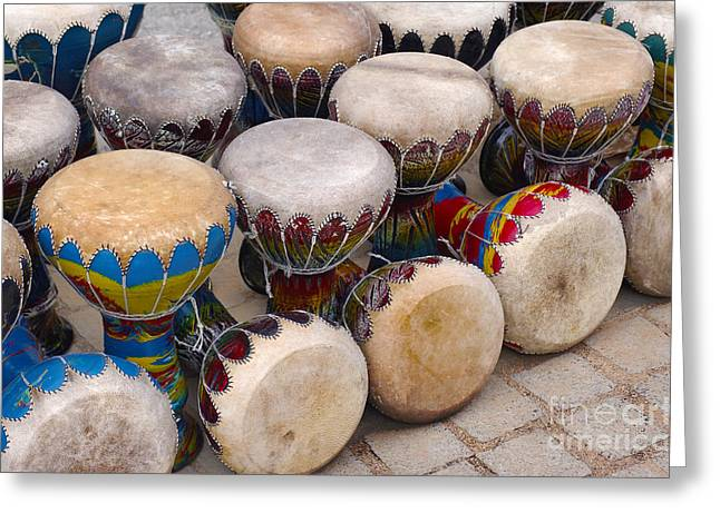 Colorful Congas Greeting Card by Carlos Caetano
