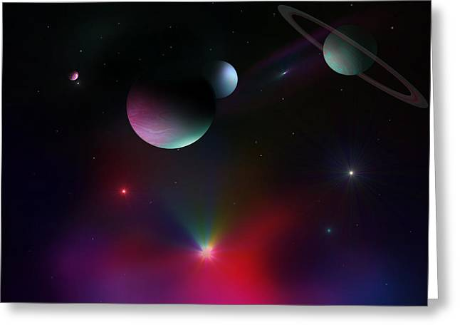 Colorful Cosmos Greeting Card by Ricky Haug