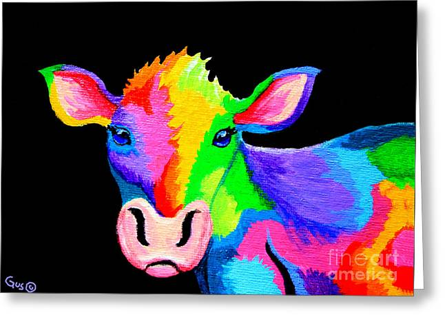 Colorful Cow-cow-a-bunga Greeting Card by Nick Gustafson